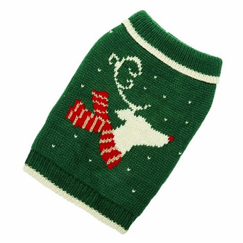 Hand Knit Christmas Reindeer Dog Sweater