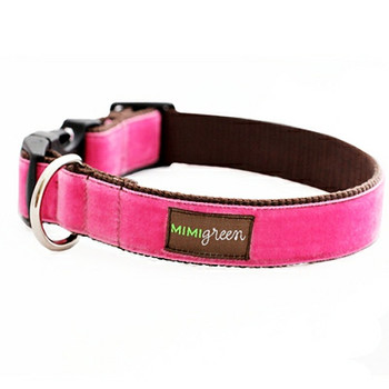 Pink Velvet Dog Collar & Optional Leash - Zoe