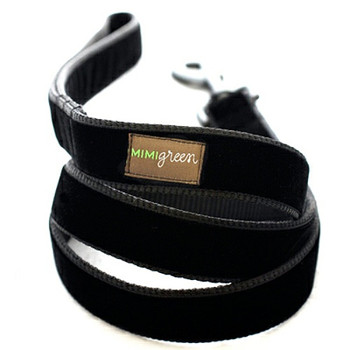 Black Velvet Dog Collar & Optional Leash - Zelda