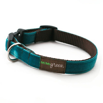 Teal Velvet Dog Collar & Optional Leash - Zack