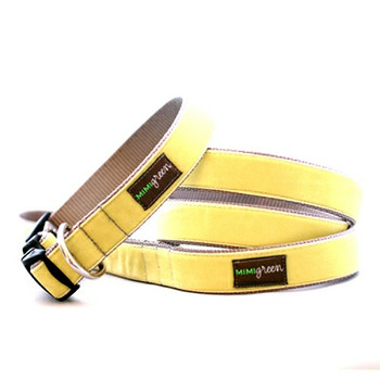 Yellow Velvet Dog Collar & Optional Leash - Sunny