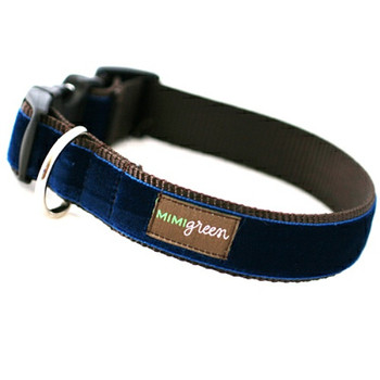 Navy Velvet Dog Collar & Optional Leash - Noel
