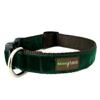 Dark Green Velvet Dog Collar & Optional Leash - Evergreen