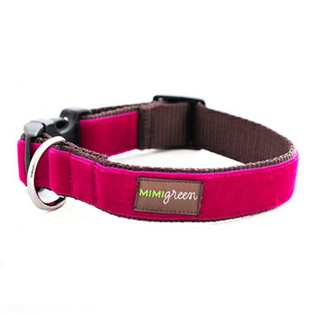 Dark Pink Velvet Dog Collar & Optional Leash - Bettie