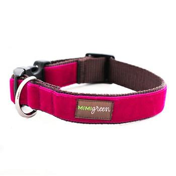 Dark Pink Velvet Dog Collar & Optional Leash - Bettie