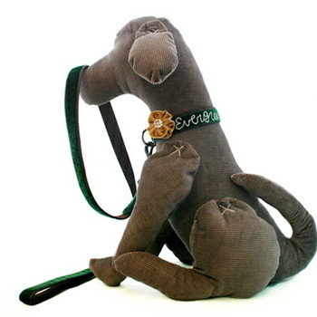 Dark Green Velvet Dog Leash - Evergreen