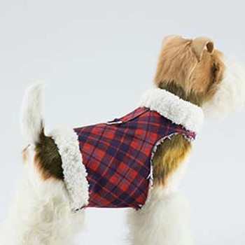 Dog Bowzer - Red Chestnut Plaid w/Ivory Shearling