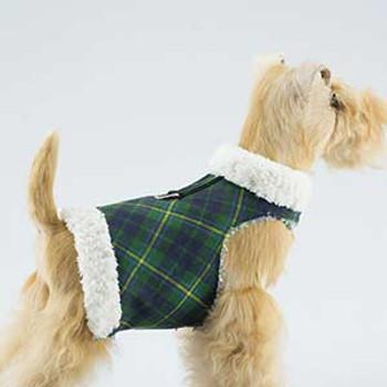 Dog Bowzer - Forrest Green Plaid w/Ivory Shearling
