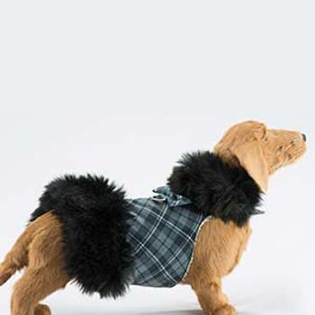 Black Fox Fur Dog Coat -  Nouveau Bow -Choose Color
