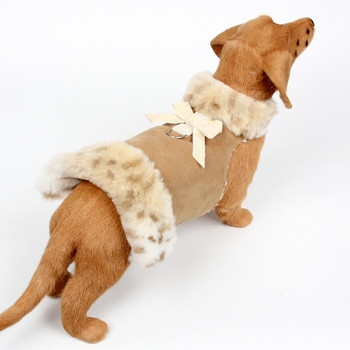 Lynx Fur Dog Coat - Velvet Bow - Choose Color
