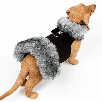 Black Tipped Silver Fox Dog Coat - Big Bow - Choose Color