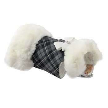 White Fox & White Nouveau Bow Dog Coat - Choose Coat Color