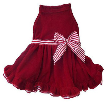 Red Velvet Striped Ribbon Christmas Dog Dress