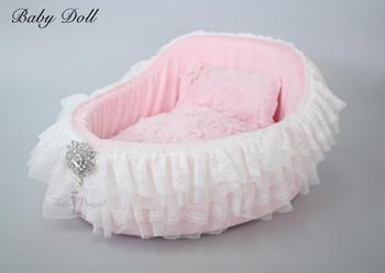 Baby Doll Crib Dog Bed - Pink