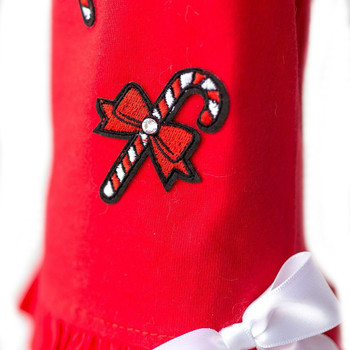 Red Holiday Candy Cane Dog Dress