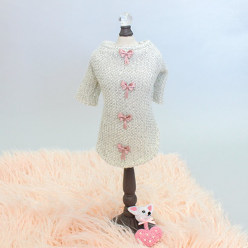 Cream Dainty Bow Angora Dog Sweater