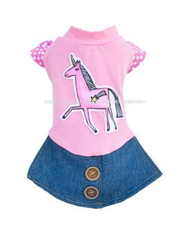 Designer Pink Unicorn Dog Dress
