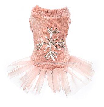 Designer Silver Snowflake Tutu Dog Dress