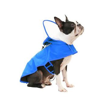 Clear Hooded Dog Rain Coat - Blue