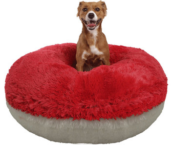Bagel Pet Dog Bed - Lipstick Red / Snow White - 5 sizes