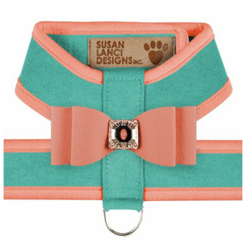 Big Bow Tinkie Harnesses -Binimi Blue / Peaches N Cream Trim & Bow
