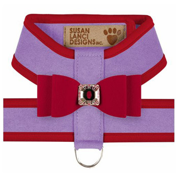 Big Bow Tinkie Harnesses - French Lavender / Red Trim & Bow
