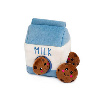 Burrow Squeaky Hide-and-Seek Plush Dog Toy - Milk and Cookies