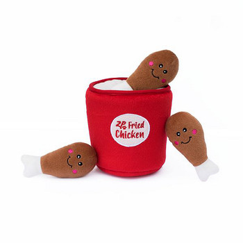 Burrow Squeaky Hide-and-Seek Plush Dog Toy - Chicken Bucket