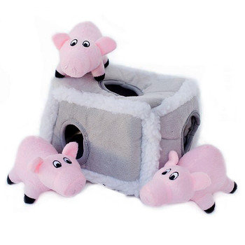 Burrow Squeaky Hide-and-Seek Plush Dog Toy - Pig Pen
