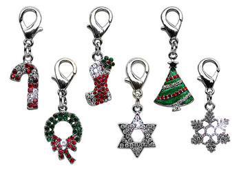 Christmas Tree Rhinestone Dog Collar Charms - Lobster Claw