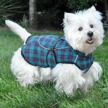 Navy Blue and Turquoise Plaid Alpine Flannel Dog Coat - Size Medium