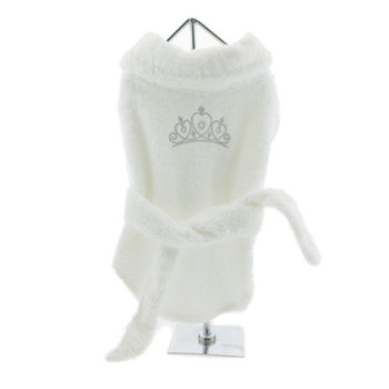 White Silver Tiara Pet Dog Bathrobe