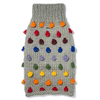 Pom Pom Wool Knit Dog Sweater - Grey/Multi
