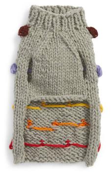 Pom Pom Wool Knit Dog Sweater - Grey/Multi