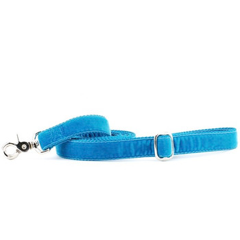 Teal Swiss Velvet Dog Leash