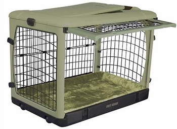 Deluxe Steel Dog Crate with Bolster Pad  - Small/Sage