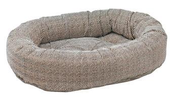 Herringbone Microvelvet Donut Pet Dog Bed