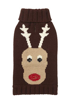 Holiday Reindeer Dog Sweater - Size 12