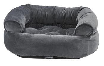 Ash Microvelvet Double Donut Pet Dog Bed