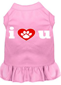 I Love U Screen Print Dog Dress -10 Colors