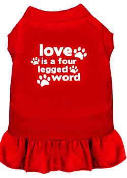 Love is a Four Leg Word Screen Print Dog Dress -10 Colors