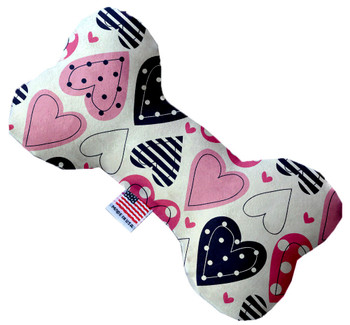 Bone Dog Toy - Mixed Hearts, 3 Sizes