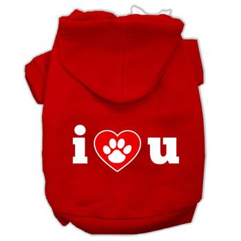 I Love U Screen Print Dog Hoodie - 9 Colors