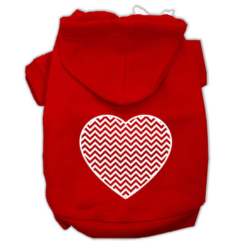 Chevron Heart Screen Print Dog Hoodie - 9 Colors