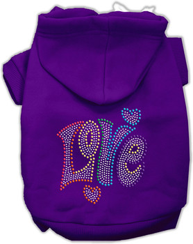 Technicolor Love Rhinestone Dog Hoodie - 9 Colors