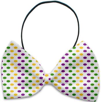 Mardi Gras Polka Dots Pet Dog Bow Tie