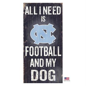 North Carolina Tarheels Distressed Football And My Dog Sign