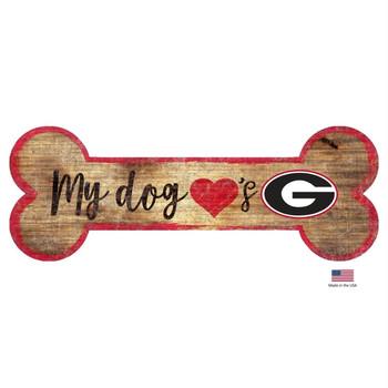 Georgia Bulldogs Distressed Dog Bone Wooden Sign