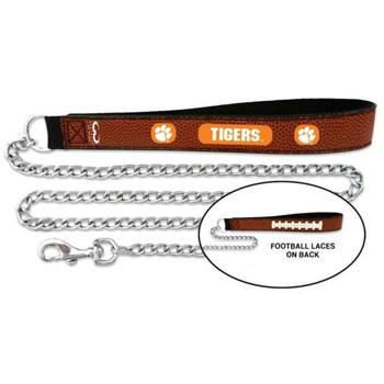 Clemson Tigers Football Leather and Chain Leash