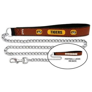 Missouri Tigers Football Leather and Chain Leash